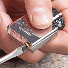 zippo, zippo lighter, flint, replacing the flint, windproof lighter, insert, lighter insert