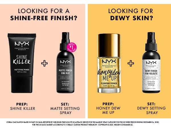 nyx setting spray finishing spray matte dewy face primer