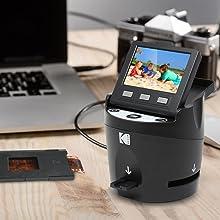 Kodak Digital Film Scanner, Converts 35mm, 126, 110, Super 8 and 8mm Film Negatives and Slides to JPEG Includes Large Tilt Up 3.5 LCD and EasyLoad Film Inserts 14