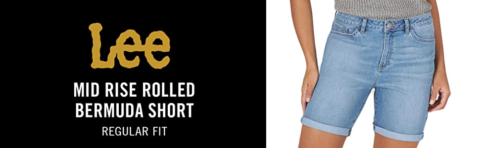 Lee Women's Legendary Regular Fit Mid Rise Rolled Bermuda Short