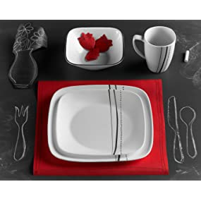 Amazon Com Corelle Simple Lines Square 16 Piece