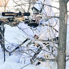 predator hunting, snow camo, winter camo, coyote hunting