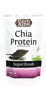Organic Plant-Based Agar Powder - Plant-Based Chia Protein Powder - Add to Smoothies - Foods Alive