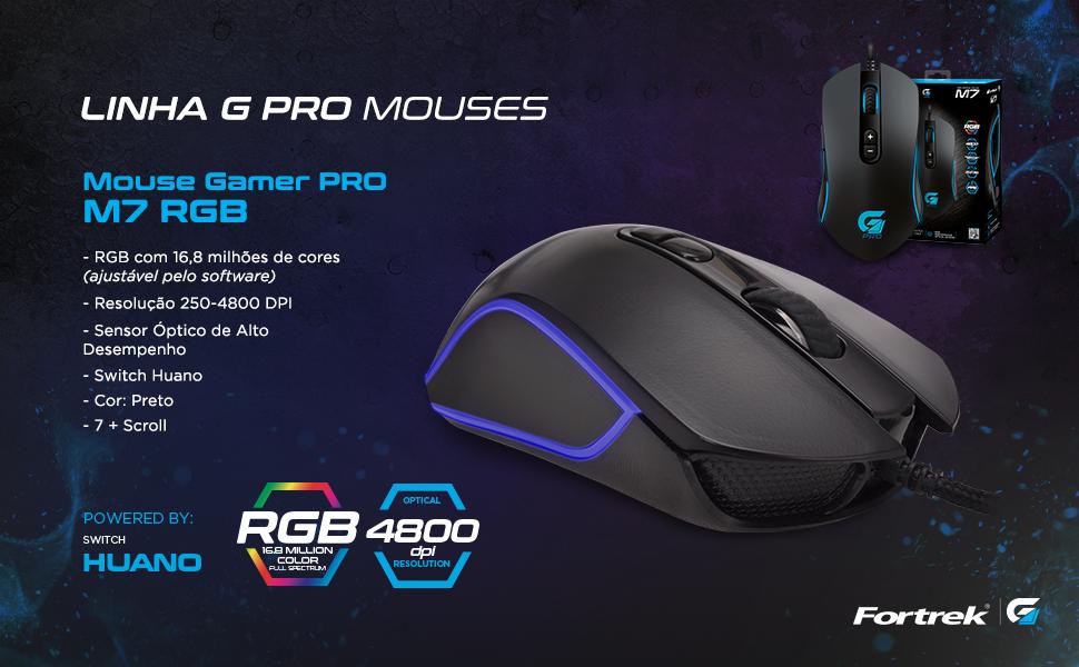 Mouse Gamer G PRO M7 RGB 16,8 milhões de cores 7 scroll switch huano sensor óptico