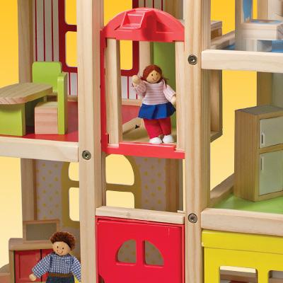 Amazon Com Melissa Amp Doug Hi Rise Wooden Dollhouse With