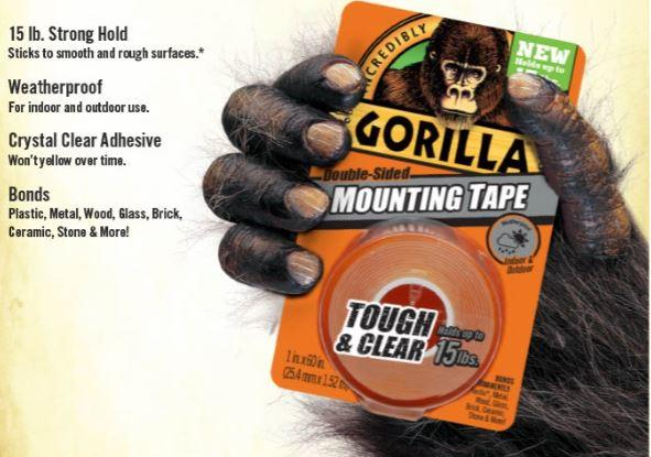 Gorilla Tough Amp Clear Mounting Tape Double Sided 1 Quot X 60