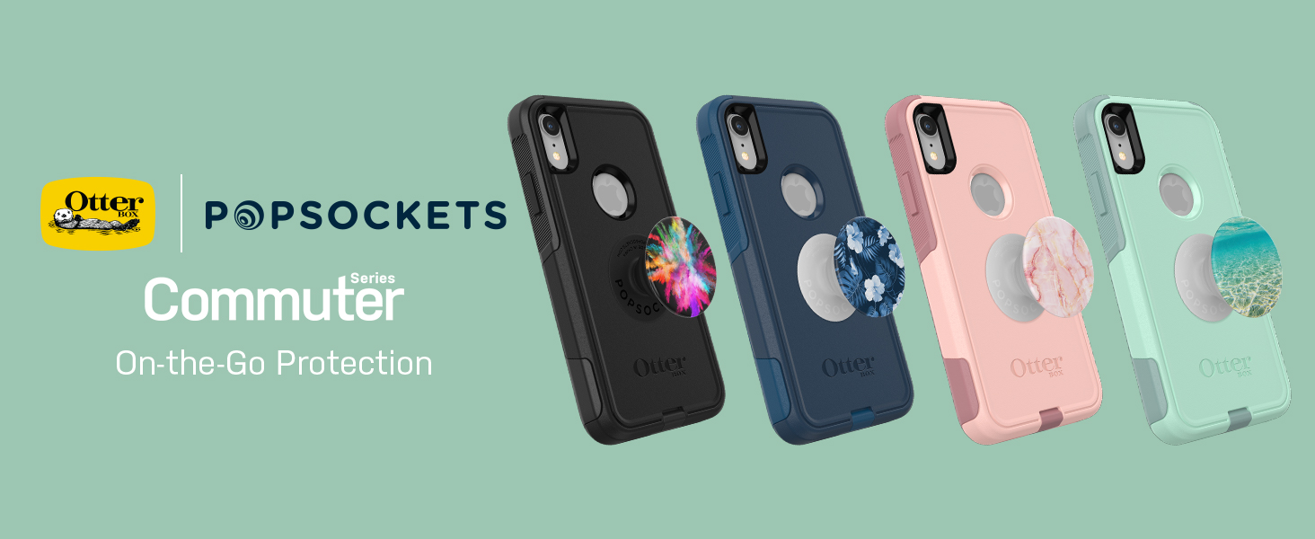 quality design fa1db a8206 OtterBox Commuter Series Case for iPhone XR – (Teal) + PopSockets PopGrip:  Collapsible Grip & Stand for Phones and Tablets – (Color Burst Gloss)