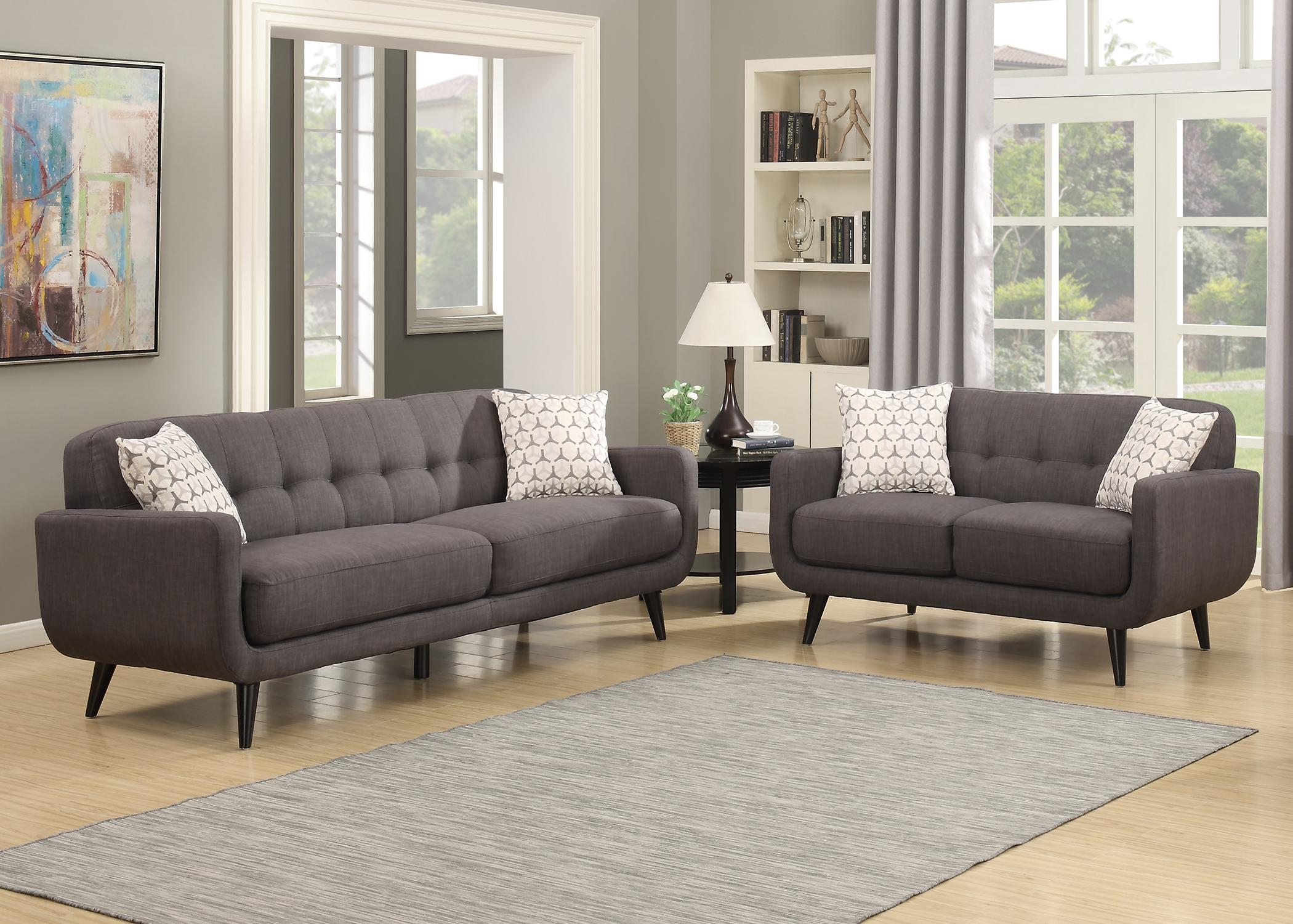 Ac Pacific Crystal Collection Upholstered Charcoal Mid Century 2 Piece Living Room