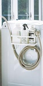 ホースホルダー付き洗濯機横マグネットラック タワー  ホワイト 4768