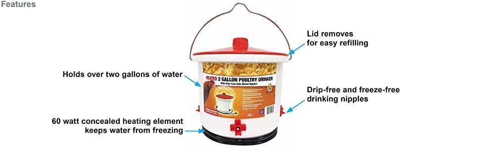 Farm Innovators Heated 2 Gallon Poultry Drinker features