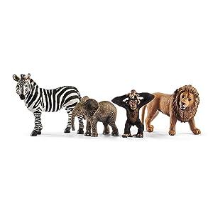 wild life starter set, zebra, elephant, monkey,lion,schleich animals,schleich figurines,schleich toy