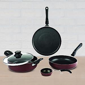 nonstick aluminium cookware, prestige, pigeon, hawkins, nirlon