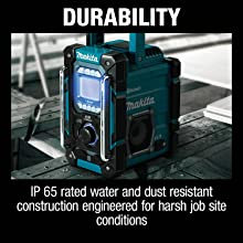 durability IP 65 rated water and dust resistant construction engineered for harsh jobsite conditions