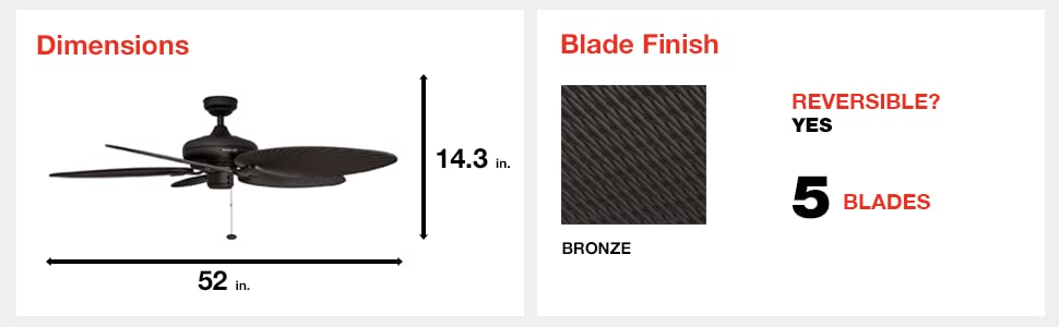 fan dimensions, blade finish, bronze, 5 blades, reversible, yes, 52 in, 14.3