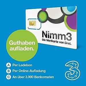 Nimm3 - die Wertkarte von Drei. Österreich, SIM: Amazon.de