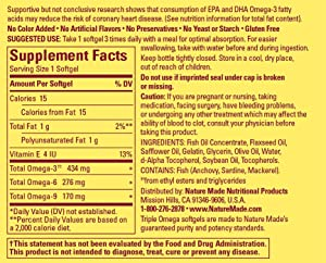 Nature Made Triple Omega Supplement Facts