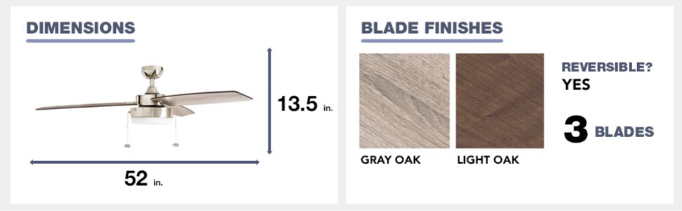fan dimensions, blade finish, light oak, gray oak, 3 blades, reversible, yes, 52 in, 13.8