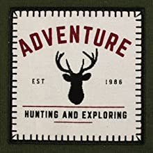"""""""Adventure - Hunting and Exploring"""" embroidered dishtowel."""