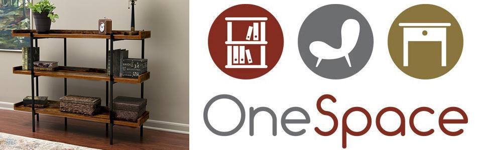 OneSpace 50-JN173SHLF Modern Wood and Steel 3-Shelf Display