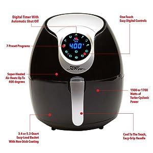 Amazon Com Power Air Fryer Xl 5 3 Qt Black Deluxe Turbo