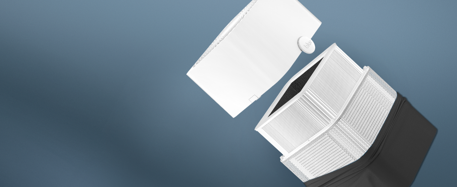 Blueair air purifier with the top opened