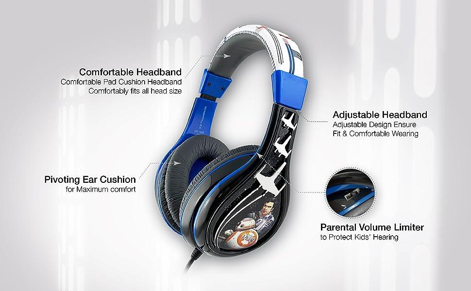 Star Wars Ep 9 Kids Headphones, Adjustable Headband, Stereo Sound, 3.5Mm Jack, Wired Headphones for Kids, Tangle-Free, Volume Control, Foldable, ...