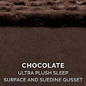 sleep surface; plush; faux fur; suede; chocolate; espresso; brown