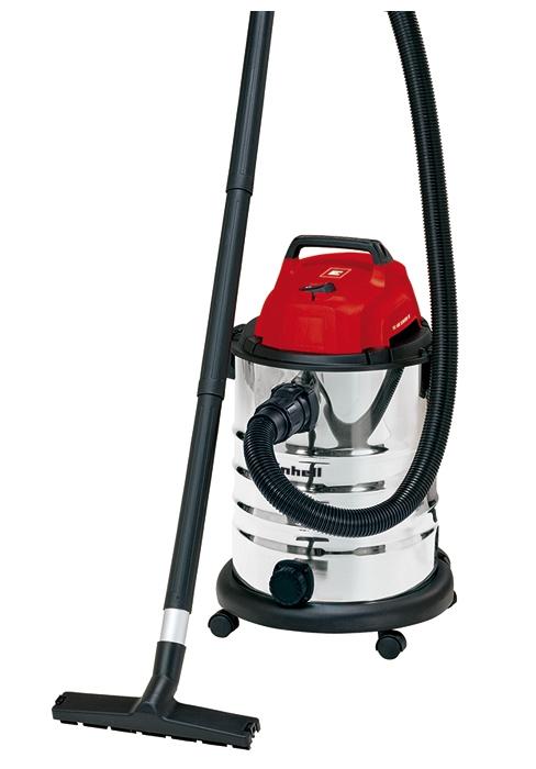 Einhell 2347130 Aspirador seco-húmedo (iones de litio, 86 Db potencia sonora, 8 kPa, 20 L, recipiente de acero ino x idable, 1,5 m de manguera de aspiración) plateado y rojo, 0 W,