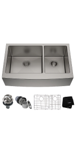 Kraus Khf204 33 33 Inch Farmhouse Apron 60 40 Double Bowl 16 Gauge Stainless Steel Kitchen Sink Amazon Ca Tools Home Improvement