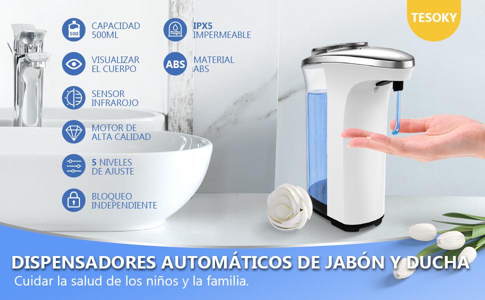 Tesoky Dispensador de Jab/ón Autom/ático,Dosificador sin Contacto de 500 Ml con Sensor Infrarrojo,Interruptores Ajustables de 5 Velocidades e Impermeable se Aplica al Ba/ño,Cocina,Hotel