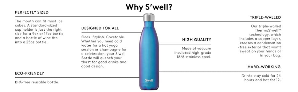 S'well Vacuum Insulated Stainless Steel Water Bottle, Double Wall, 17 oz, Blue Marble .99