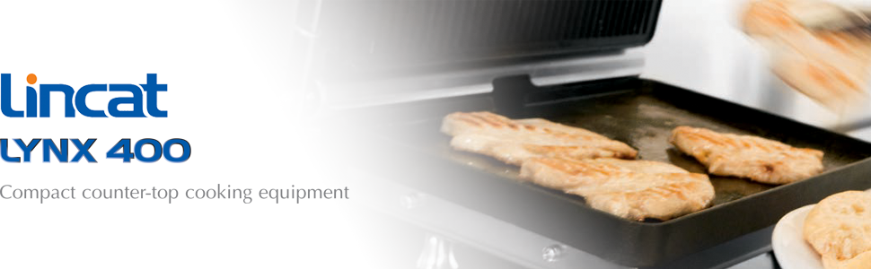 high quality and heavy duty kitchen appliances Lincat Lynx 400 Single Contact//Panini Grill Smooth Upper /& Lower Plates