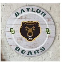 Baylor Bears Helmet Weathered Circle Sign