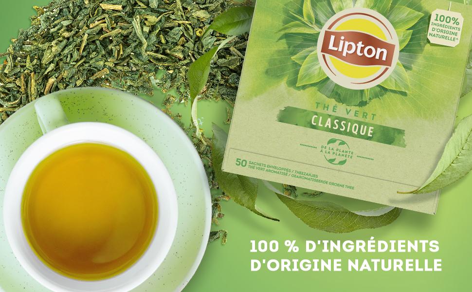 100 % d'ingrédients d'origine naturelle, feuilles de thé, thé vert aromatisé, 50 sachets enveloppés