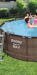 Bestway - Piscina Desmontable Tubular Steel Pro Max Diseño Rattan ...