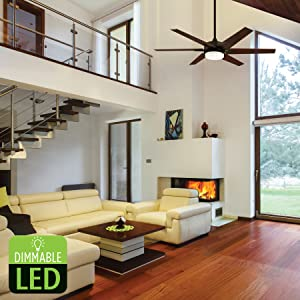 60-Inch Cayuga Indoor Ceiling Fans, Oil Rubbed Bronze Finish, Dimmable LED Light Kit, Remote Control
