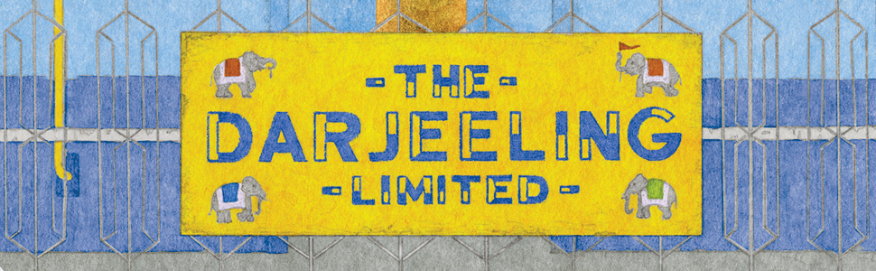 The Darjeeling Limited title art placed on a yellow suitcase that has little elephants on it.