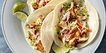 Salmon tacos with pineapple slaw