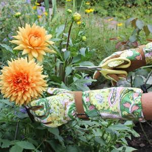 garden gloves, paisley, womens gloves, womens work