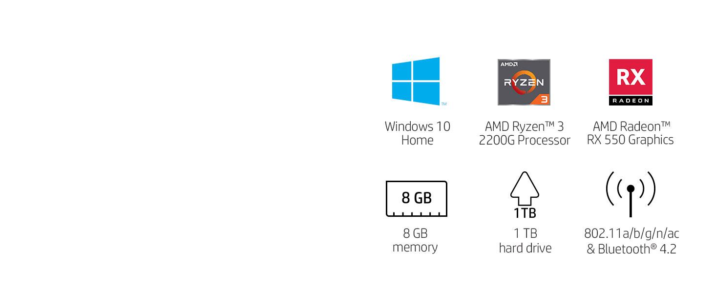 Specifications AMD Ryzen 3 2200G Radeon RX 550 memory hard drive bluetooth 802.11a/b/g/n/ac