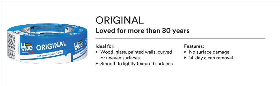 ScotchBlue Original ideal for wood, glass, painted walls, curved or uneven surfaces