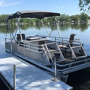 pontoon, fishing, boat covers, waterproof, sunbrella, party boat cover, 4 bow bimini frame,