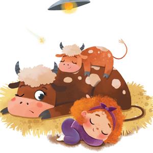 cow sleep girl book good night