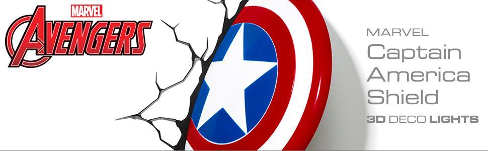 Marvel, Avengers, Captain America, 3D Deco Light, nightlight, LED bulbs, cordless, battery operated