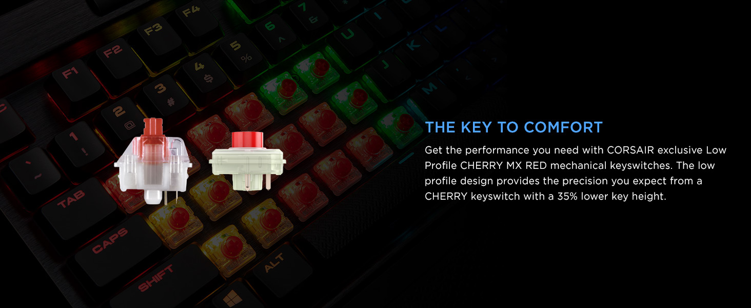 CH-9109017-NA K70 RGB MK.2 Low Profile Mechanical Gaming Keyboard CHERRY MX Low Profile Red