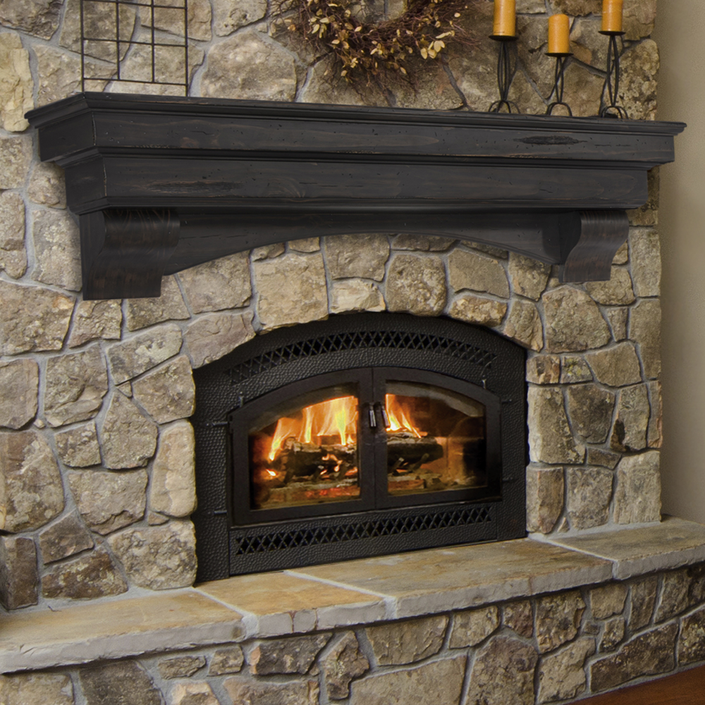 pearl mantels 495 72 auburn arched 72 inch wood fireplace mantel shelf unfinished. Black Bedroom Furniture Sets. Home Design Ideas