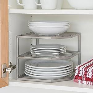 seville classics platinum organizer 2 tier silver cabinet corner shelf storage plate dish tray