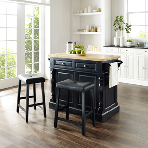 Amazon Com Crosley Furniture Kitchen Island With Butcher Block Top Black Kitchen Islands Carts