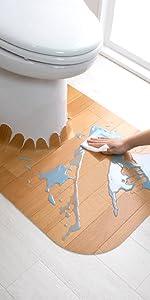 サンコー ずれない トイレマット 拭ける 床汚れ防止 ロング ベージュ ウッド 60×85cm おくだけ吸着 日本製 KV-17