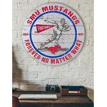 Southern Methodist Mustangs Throwback Circle Sign